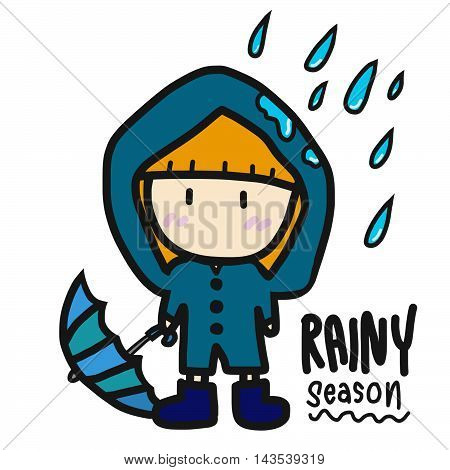 Cute girl in blue rain coat illustration