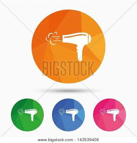 Hairdryer sign icon. Hair drying symbol. Blowing hot air. Turn on. Triangular low poly button with flat icon. Vector