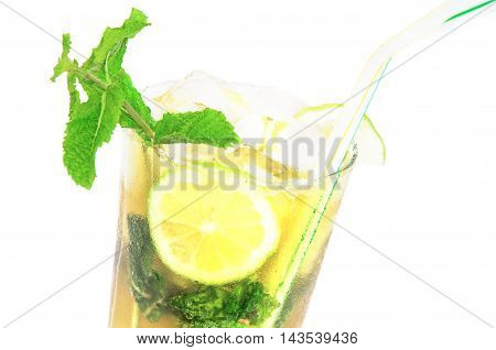 Sweaty glass of mojito cocktail isolated over white background. Close-up. Horizontal.