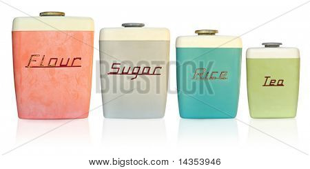 Retro 1950's kitchen storage canisters for flour, sugar, rice and tea.