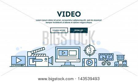 Video making concept header flat design thin line style vector illustration