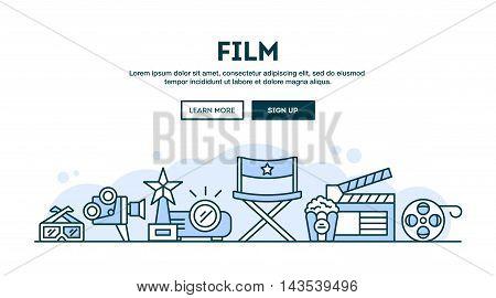 Film concept header flat design thin line style vector illustration