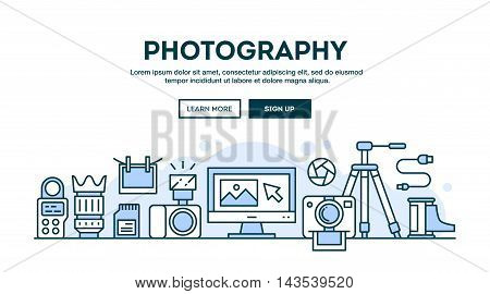 Photography equipment concept header flat design thin line style vector illustration