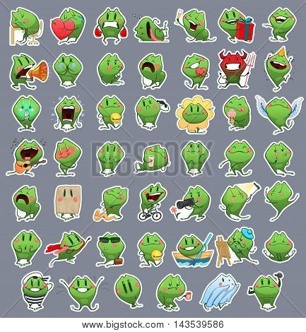 Collection of Emoticon Emoji Cartoon Frog. Vector Emotions Stickers