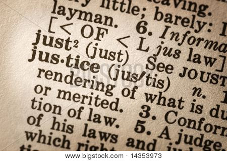 "Dictionary definition of ""justice"".  Close-up view, with good paper textures."