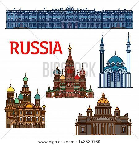 Famous travel landmarks of Russia linear icon of ornamental orthodox Cathedral of Vasily the Blessed and Church of the Savior on Spilled Blood, Saint IsaacCathedral, Winter Palace, Qolsharif Mosque