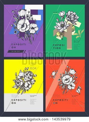 Set of Layout Templates for Poster, Flyer, Brochure. Modern Clean Design With Colorful Floral Composition . Vector Illustration.