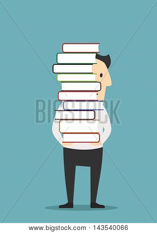 Smiling man is carrying a tall pile of colorful books. I love reading concept, education or profession themes design