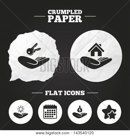 Crumpled paper speech bubble. Helping hands icons. Financial money savings insurance symbol. Home house or real estate and lamp, key signs. Paper button. Vector