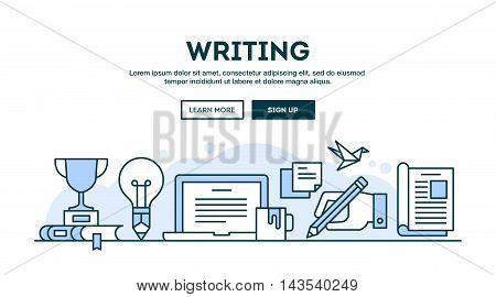 Writing concept header flat design thin line style vector illustration