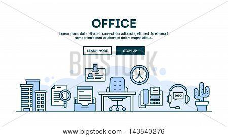 Office concept header flat design thin line style vector illustration