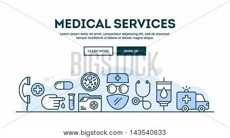 Medical services concept header flat design thin line style vector illustration