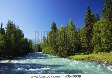 Glacier river in Altai Mountains, Siberia, Russian Federation