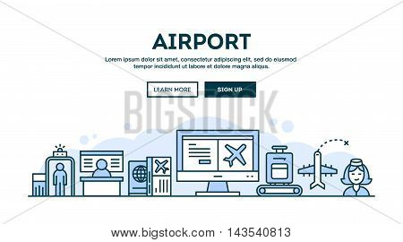 Airport concept header flat design thin line style vector illustration