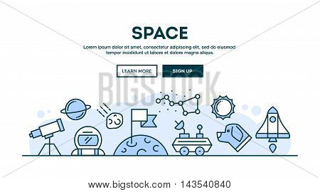 Space concept header flat design thin line style vector illustration