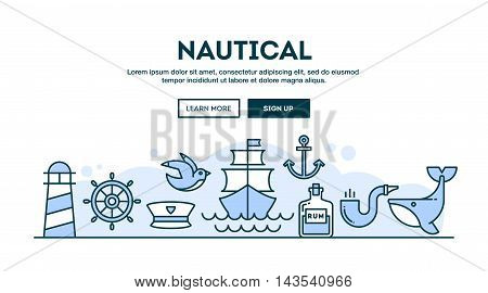 Nautical concept header flat design thin line style vector illustration