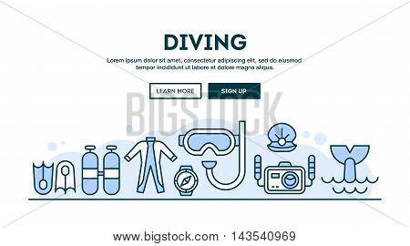 Diving concept header flat design thin line style vector illustration