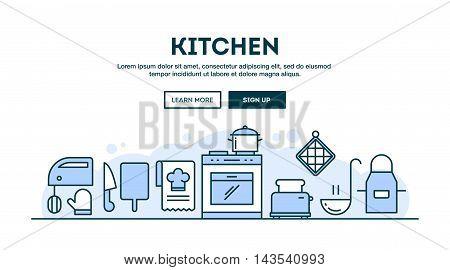 Kitchen concept header flat design thin line style vector illustration