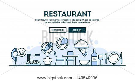 Restaurant concept header flat design thin line style vector illustration