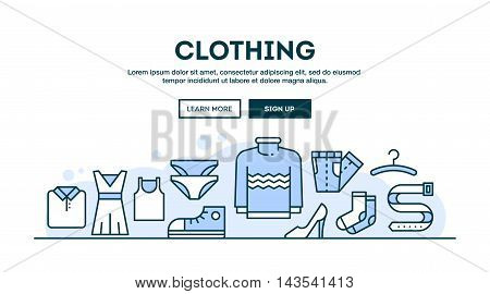 Clothing fashion boutique concept header flat design thin line style vector illustration