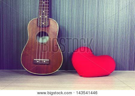 Vintage Classic Ukulele With Red Heart And Blank Area Or Space