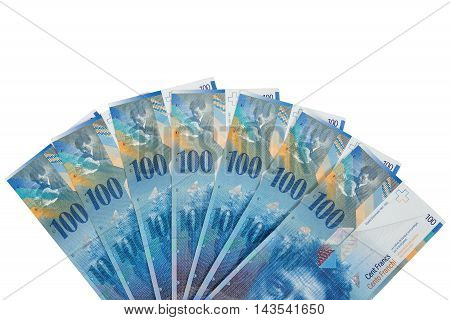 Banknotes of 100 swiss franc isolated on white background with clipping path