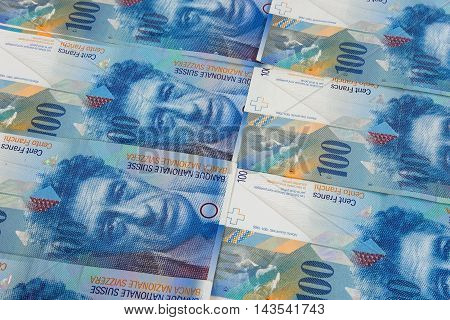Financial background made of 100 swiss franc