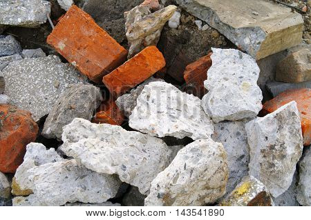 closeup of the heap of a rubble