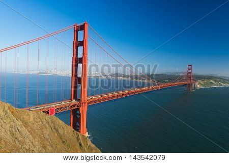 View at Golden Gate Bridge which spans Golden Gate strait at San Francisco Bay. California, USA