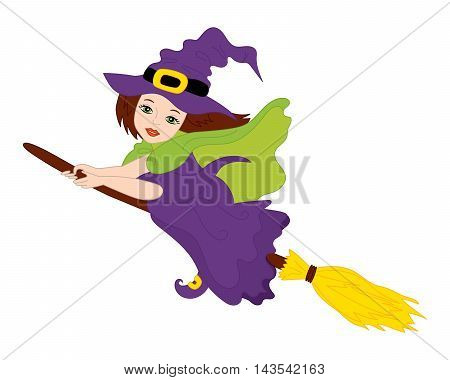 Vector flying witch with broomstick in purple dress