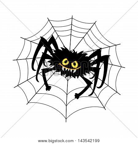 Vector Halloween black spider sitting on the cobweb