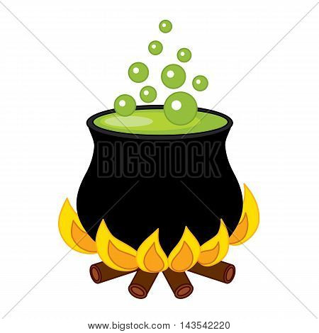 Vector black cauldron with potion and bubbles
