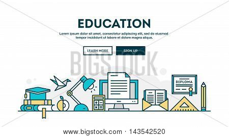 Education colorful concept header flat design thin line style vector illustration