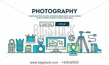 Photography equipment colorful concept header flat design thin line style vector illustration