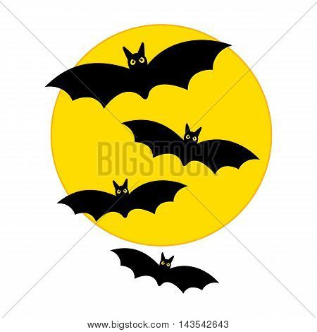 Vector Halloween yellow moon with flying bats