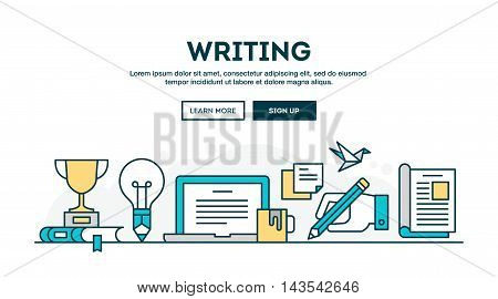 Writing colorful concept header flat design thin line style vector illustration