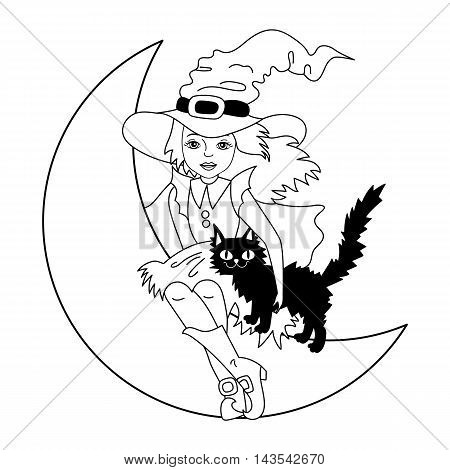 Vector black and white witch with cat sitting on the moon