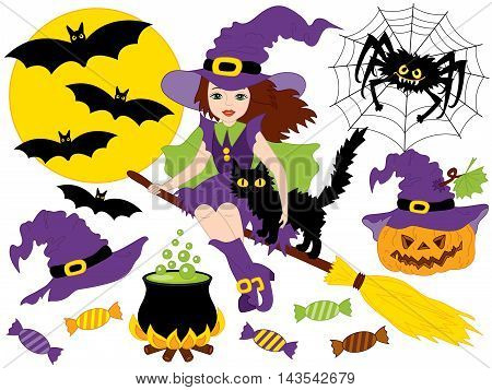 Vector witch with broomstick, cat, spider, bats, moon and pumpkin