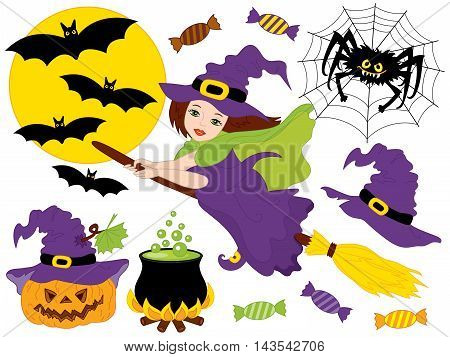 Vector witch with broomstick, spider, bats, moon and pumpkin