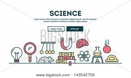 Science colorful concept header flat design thin line style vector illustration
