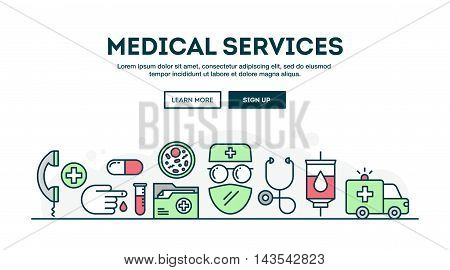 Medical services colorful concept header flat design thin line style vector illustration