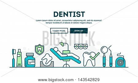 Dentist colorful concept header flat design thin line style vector illustration