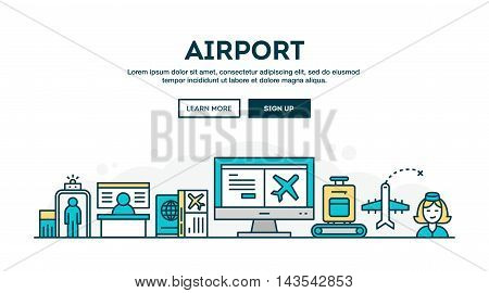 Airport colorful concept header flat design thin line style vector illustration