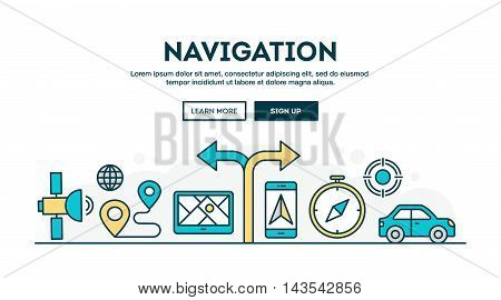 Navigation colorful concept header flat design thin line style vector illustration
