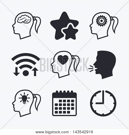 Head with brain and idea lamp bulb icons. Female woman think symbols. Cogwheel gears signs. Love heart. Wifi internet, favorite stars, calendar and clock. Talking head. Vector