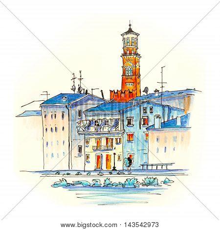 Adige River Embankment and Tower Lamberti, Verona, Italy. Picture made markers