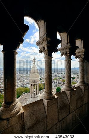 View from top of Sacre Coeur Cathedral and Eiffel Tower in Paris, France.