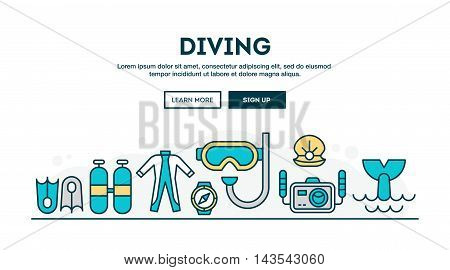 Diving colorful concept header flat design thin line style vector illustration