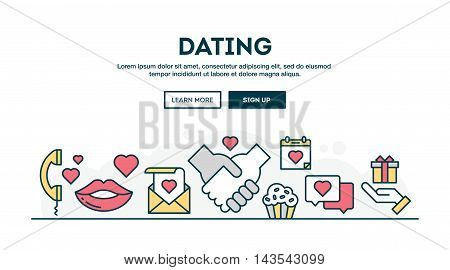 Dating Valentine's day colorful concept header flat design thin line style vector illustration