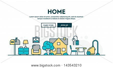 House home interior colorful concept header flat design thin line style vector illustration